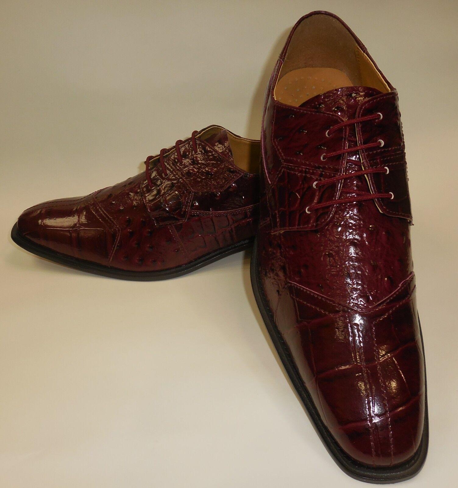Mens Elegant Burgundy Croco-Look Croco-Look Croco-Look Dress Oxford schuhe Liberty LS1105 e71801