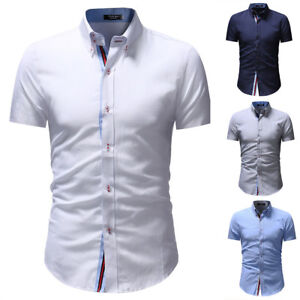 New-Mens-Shirts-Short-Sleeve-Slim-Fit-Button-Down-Dress-Casual-Shirt-TAD169
