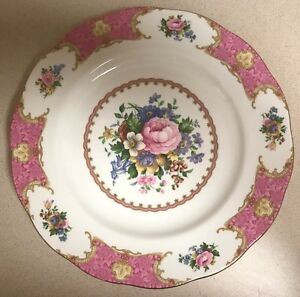 "Royal Albert Doulton Lady Carlyle Dinner Plate, Pink Roses, Gold Trim,10.5"" Mint"