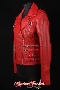 Ladies CATWALK Orange Washed Lambskin Vintage Biker Style Real Leather Jacket