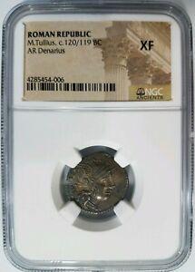 M-Tullius-Roman-Republic-BC-NGC-XF-Silver-Denarius-Marcus-Quadriga-Ancient