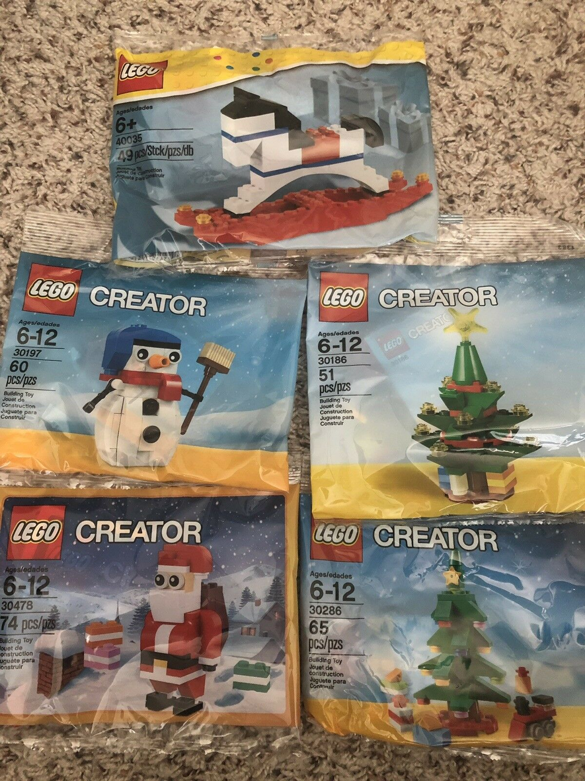 LEGO Snowman 30197 Santa 30478 30186 30286 Christmas tree 40035 Polybag Set lot
