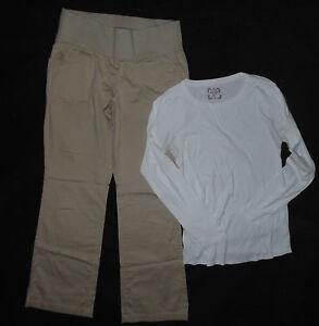 5b8e5aa01b118 Old Navy Maternity long sleeve top shirt S   Liz Lange khakis chino ...