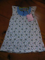 *NWT* ROOM SEVEN 92 US 2T Tuna Jersey Dress Blue Gingham Floral Ruffle Cap Slv