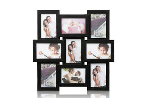 Black-Multi-Aperture-Photo-Picture-Frame-Holds-9-X-6-039-039-X4-039-039-Photos-CL-1015BK9