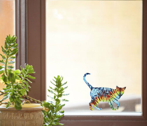 "Rainbow Tie Dye Cat Walk D2 See-Through Vinyl Window Decal 6/""w X 5.2/""h CLR:WND"
