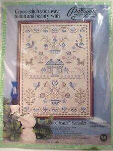 1974-Sealed-Vintage-Paragon-American-Sampler-Cross-Stitch-Kit-Stamped-Linen