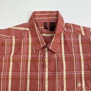 Perry-Ellis-Button-Up-Shirt-Men-039-s-Size-2XL-XXL-Short-Sleeve-Red-Tan-Plaid