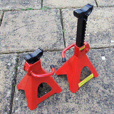 PAIR of 2 TONNE TON AXLE ADJUSTABLE STANDS EASY ADJUST 265 to 425mm for CAMPER