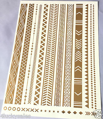Long golden retro pattern Temporary Metallic Tattoo Gold Silver Flash