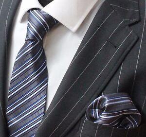 Tie Neck tie with Handkerchief Dark Grey Blue & White Stripe