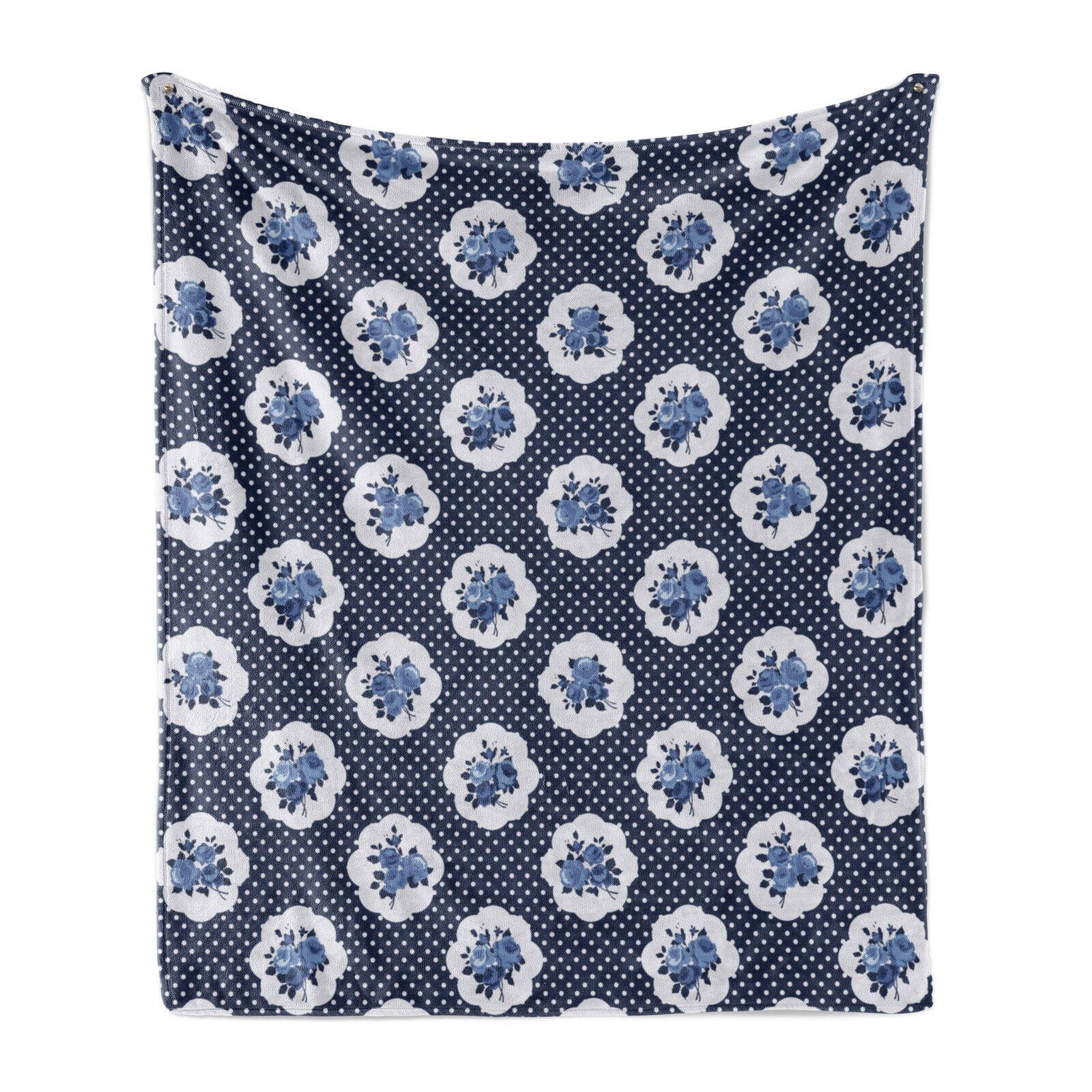 Shabby Flora Weich Flanell Fleece Decke Motive Dots Blumen