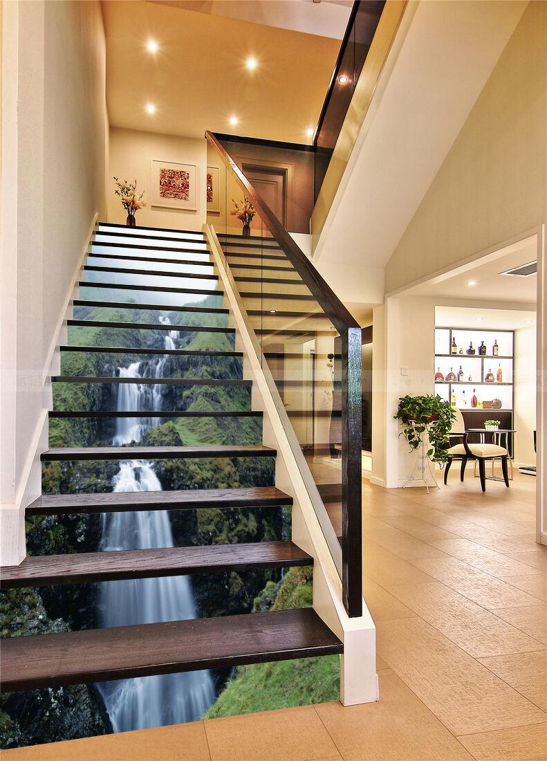 3D Hang Wasserfall 6Stair Risers Dekoration Fototapete Vinyl Aufkleber Tapete DE