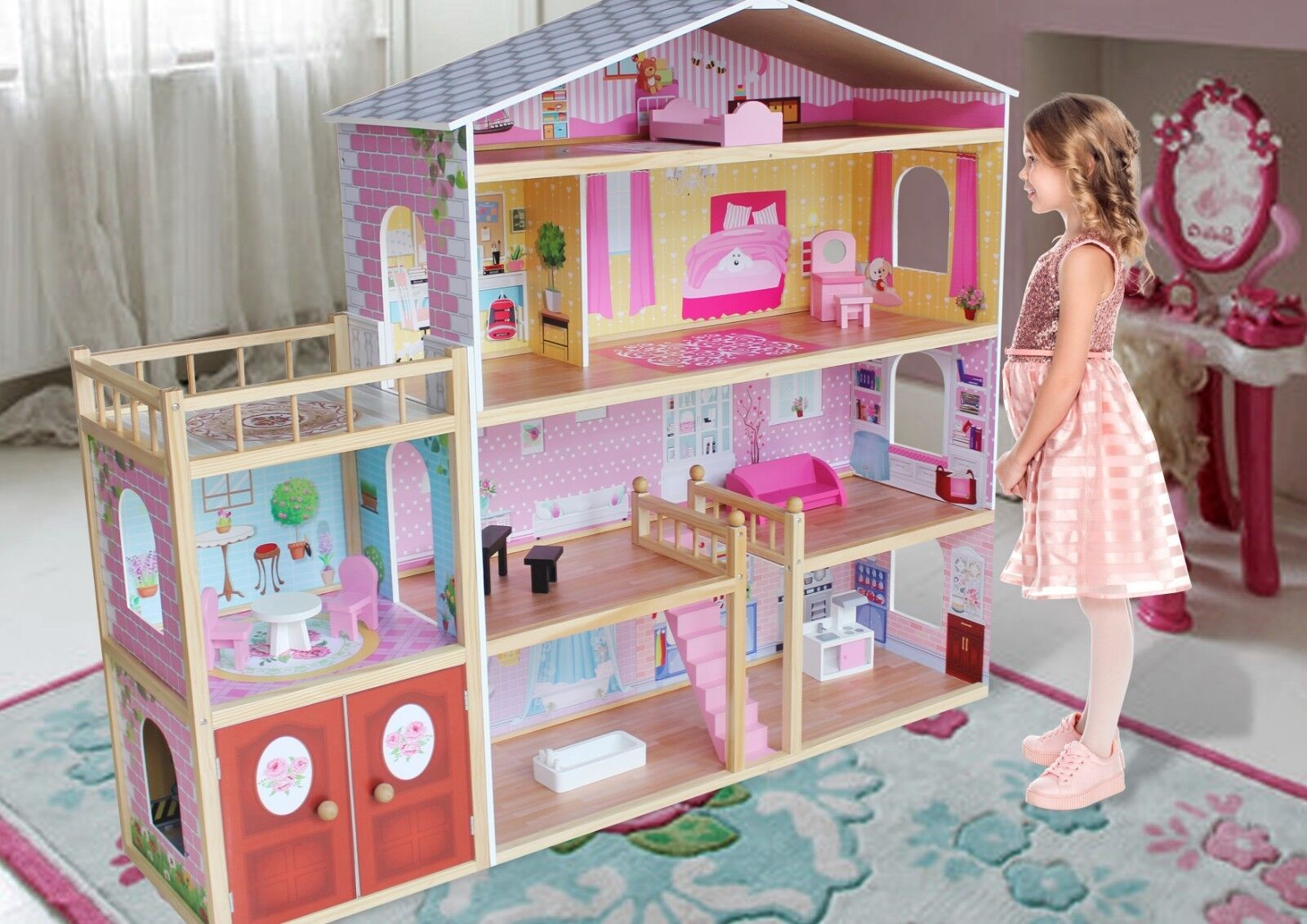 Kiddi Style Huge Modern Villa Dolls House Wooden & Furniture - Fits Barbie