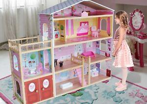 Kiddi Style Huge Modern Villa Dolls House Wooden & Furniture - Fits Barbie 5060510210943