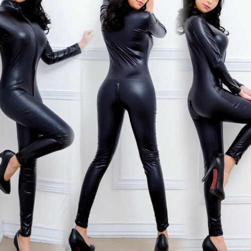 Catsuit Tuta Tuta S xl Nero Donna ecopelle in Look Sexy Wet Clubwear qxt0wYW1