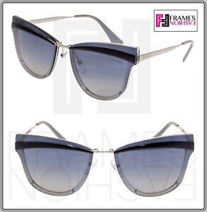 1ffd2e4444a6 PRADA CINEMA Cat Eye Metal Sunglasses 12U Silver Blue Brow Gradient ...