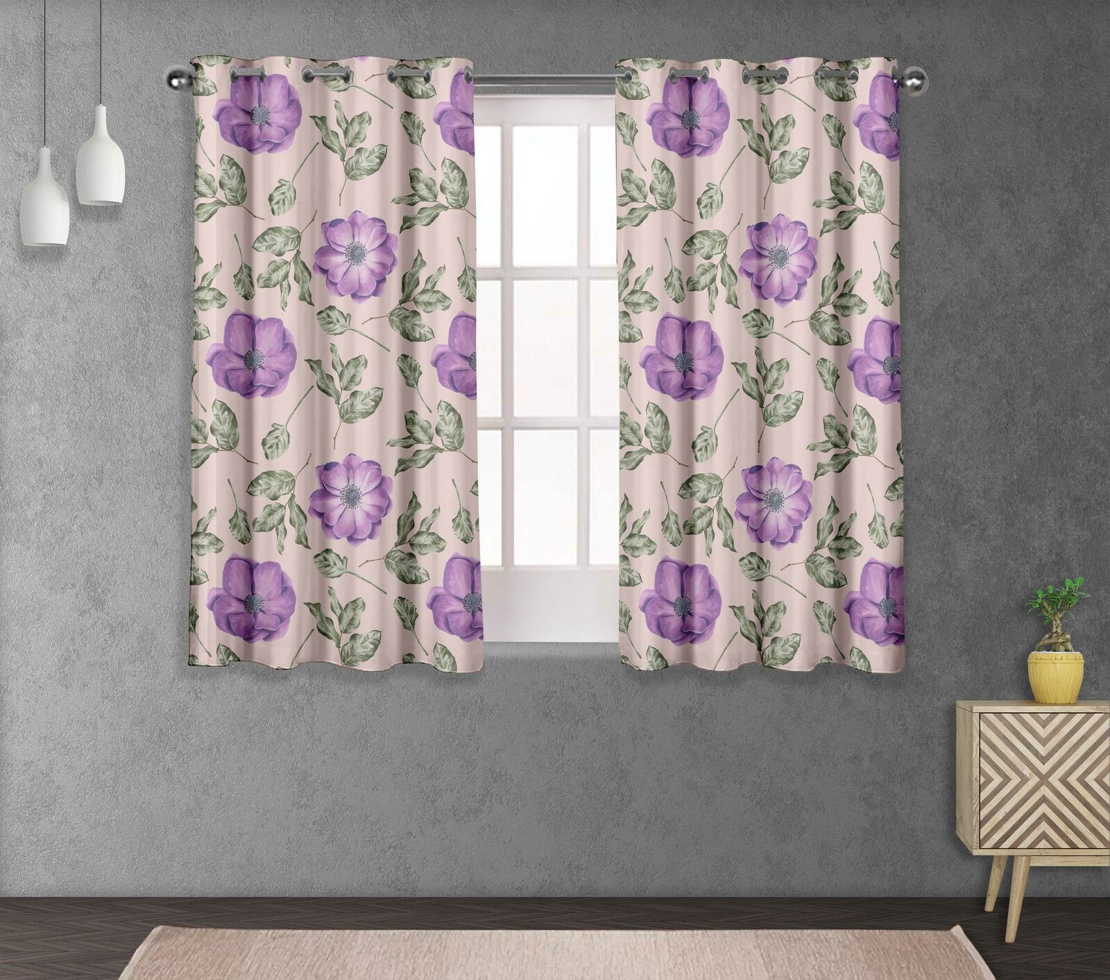 S4sassy Anemone & Camellia Living Room Eyelet Curtain Drapers -FL-861I