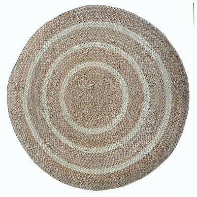 Natural Fibers Contemporary Denita Circles Border Jute Natural Area Rug Ebay