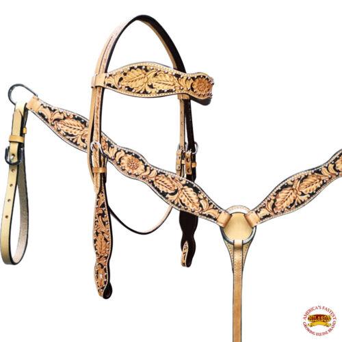 C--SET Western Horse Headstall Breast Collar Set American Leather Tan