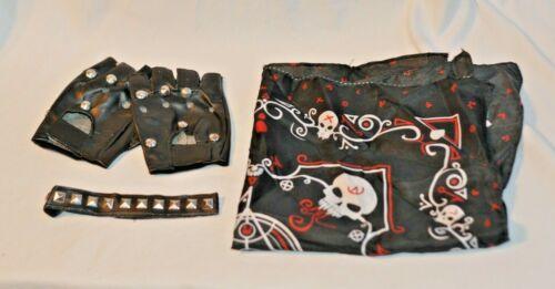 Black Biker Bandana Gloves Choker Necklace Spiked