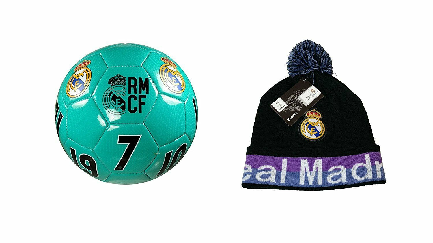 Real Madrid C.F. Official Soccer Size 4 Ball & Beanie Combo 09-1