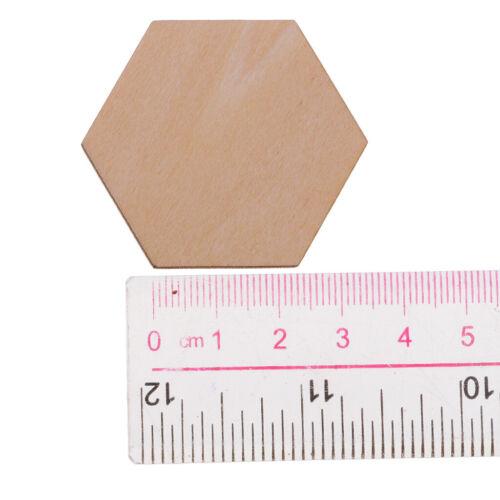 50 Stk Holz Hexagon Scheiben Naturholzscheiben Unlackiert für Dekor 40 mm