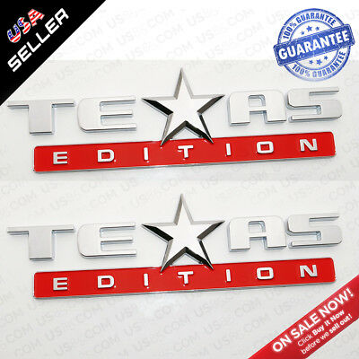 3x Black Red TEXAS Edition Logo Emblem Badge Stickers Chevrolet Decoration TEAS