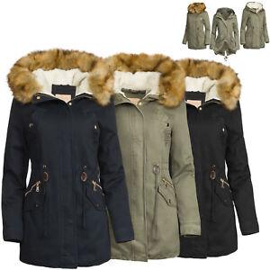 super popular 8f648 a4a98 Details zu 3 in 1 Damen Winterjacke Baumwolle Teddy Fell Military Style  Cotton Parka Mantel