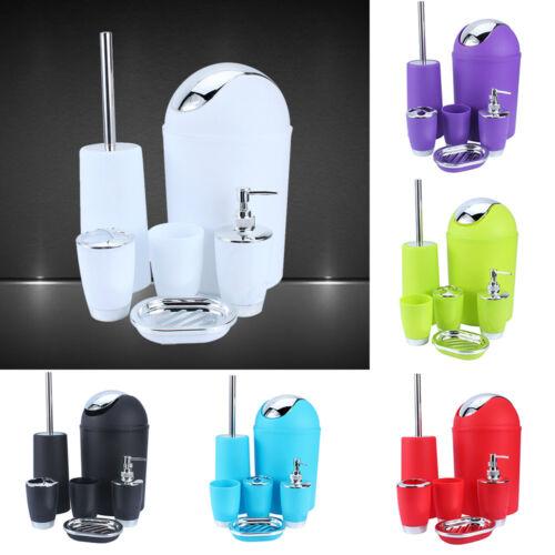 6Pcs Bathroom Accessory Set Cup Soap Dish Dispenser //Bin Toothbrush Holder