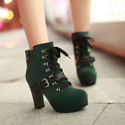 WOMEN LOLITA LACE UP BUCKLE BLOCK HIGH HEELS PLATFORM ANKLE RIDING BOOTS 4 COLOR