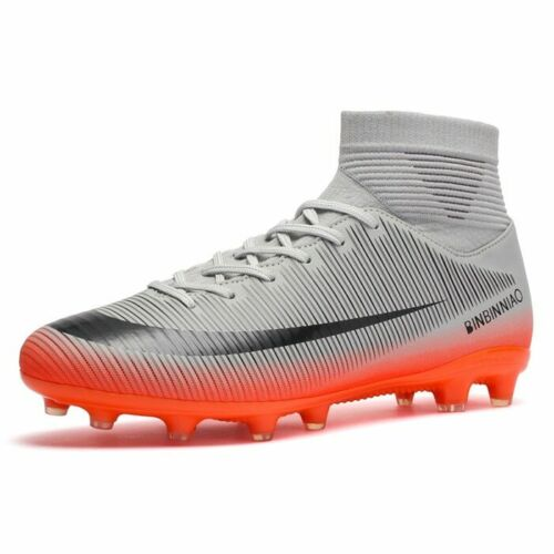 ZHENZU Outdoor Men Boys Soccer Shoes Football Boots High Ankle Kids Cleats