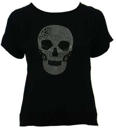 Womens Dipped Back Hem Silver Skull Detail Black Top Ladies Plus Size