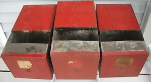 Image Is Loading Antique Lot Of 3 Old Red Paint Tin