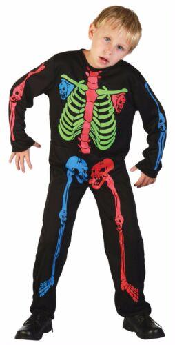 Boys  Multi Coloured Skeleton Jumpsuit Kids Fancy Dress Costume Halloween Party
