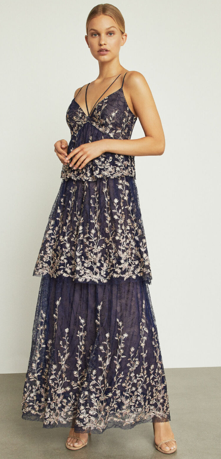 BCBG Max Azria Womens Lace V-Neck Formal Evening Dress Gown BHFO 2344