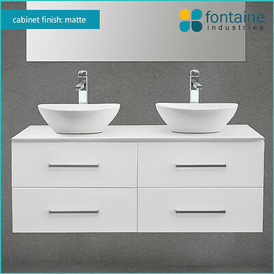 Bathroom White Matte White Wall Hung Double Ceramic Basins Stone 1200 NEW SALE