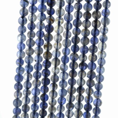 "4MM BERMUDAN BLUE IOLITE GEMSTONE  ROUND LOOSE BEADS 15.5/"""
