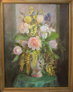 Augusta-thejll-Clemmensen-1884-1980-Large-Oil-Paintings-Flowers