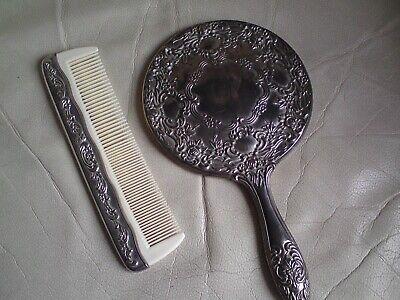 Vintage Silver Metal Vanity Dressing, Dressing Table Brush Comb Mirror Set