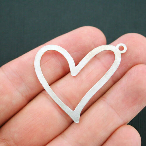 SC4951 2 Heart Charms Antique Silver Tone Large Size Connector