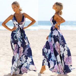 Women Summer Boho Backless Long Maxi Dress Evening Cocktail Party Beach Dresses