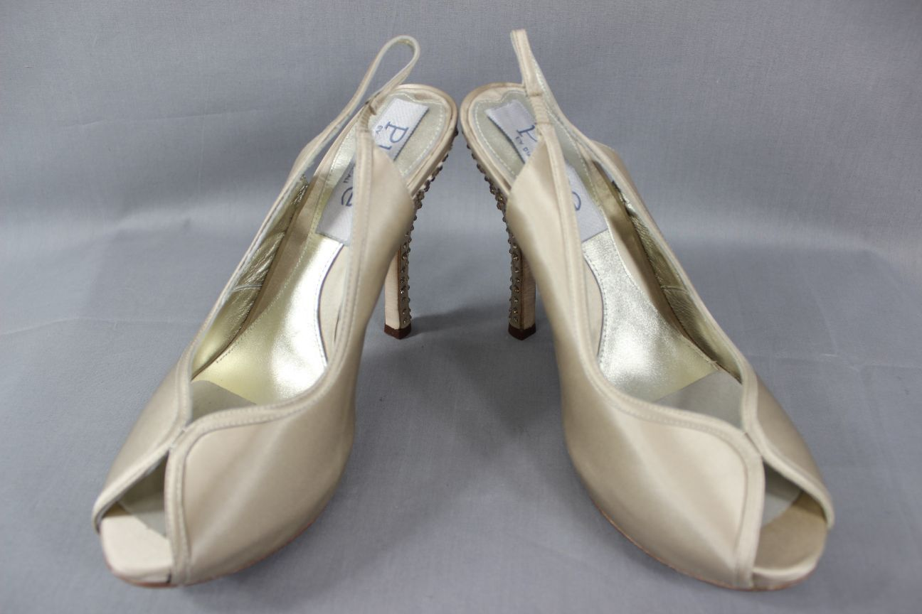 BNIB DIANE HASSALL 'PURE' CHAMPAGNE SILK DIAMONTE HEELED BRIDAL Schuhe:SIZES2-7.5