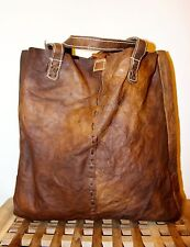Recycled Raw natural Leather Handmade Tote Bag / Brown