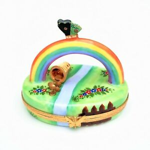 Pot of Gold at the End of the Rainbow Limoges Trinket Box by Rochard