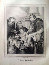 SACRA FAMIGLIA VAN-DYCK Litografia orig. da UOMINI ILLUSTRI 1838 -  BELGIO