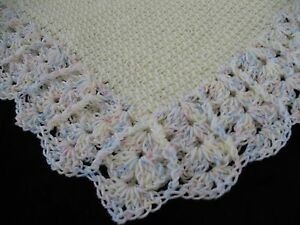 NEW Handmade Crochet Baby Blanket Afghan (Yellow Multi trim)