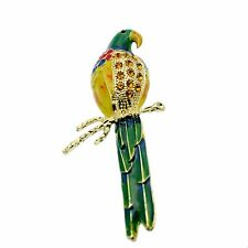 Parrot Pin Brooch with Topaz Crystal Rhinestones Vintage Retro Design