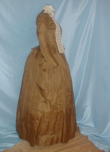 Antique Dress Victorian 1880's Brown Silk Bustle D