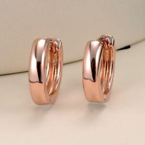 Women-039-s-Hoop-Earrings-18k-Rose-Gold-Filled-GF-15MM-Fashion-Jewelry